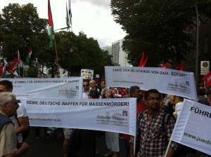 Berlin für Gaza, Demonstration vor Axel-Springer-Haus am 9.8.14_7++